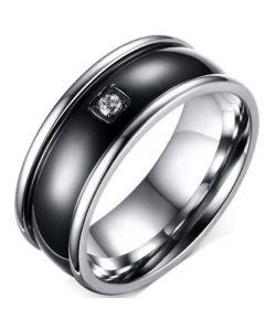 COI Titanium Black Silver Ring With Cubic Zirconia-5769