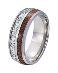 COI Tungsten Carbide Wood and Meteorite Dome Court Ring-TG5770