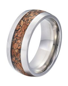 COI Tungsten Carbide Wood Dome Court Ring-TG5773