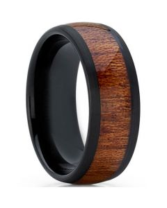 COI Black Tungsten Carbide Wood Dome Court Ring-TG5774
