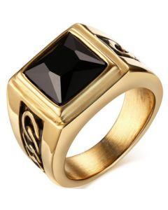 COI Titanium Gold Tone Black Ring With Black Agate-5776