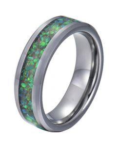 COI Tungsten Carbide Crushed Opal Beveled Edges Ring-TG5780