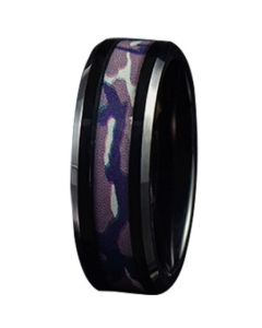 COI Black Tungsten Carbide Camo Beveled Edges Ring-TG5783