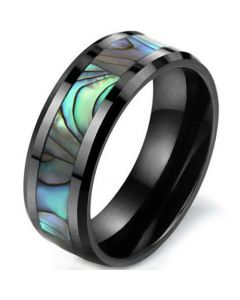 COI Black Tungsten Carbide Abalone Shell Beveled Edges Ring-TG5786