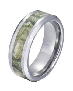 COI Tungsten Carbide Camo Beveled Edges Ring-TG5788