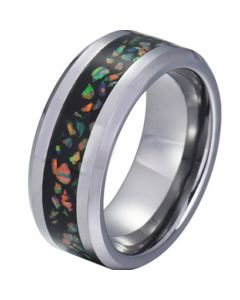 COI Tungsten Carbide Crushed Opal Beveled Edges Ring-TG5791