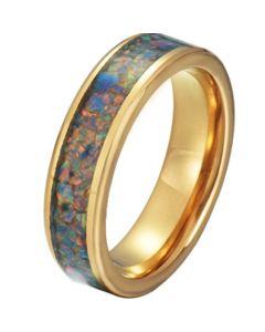 COI Gold Tone Tungsten Carbide Crushed Opal Pipe Cut Flat Ring-TG5792