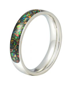 COI Tungsten Carbide Crushed Opal Dome Court Ring-TG5793