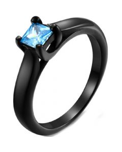 COI Black Titanium Solitaire Ring With Blue/Pink Cubic Zirconia-5824