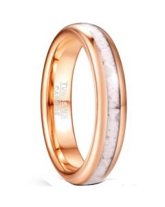 COI Rose Tungsten Carbide White Marble Dome Court Ring-5826