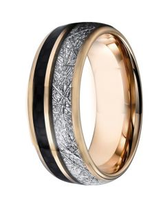 COI Rose Tungsten Carbide Meteorite and Carbon Fiber Ring-5828