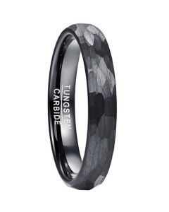 COI Black Tungsten Carbide Hammered Dome Court Ring-5829