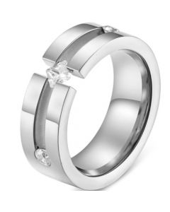 COI Titanium Silver/Rose Groove Ring With Cubic Zirconia-5831