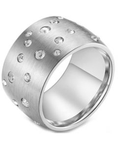 COI Titanium Rose/Black/Silver Dome Court Ring With Cubic Zirconia-5837
