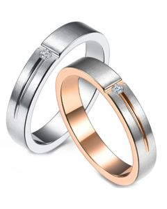 COI Titanium Rose Silver/Silver Groove Ring With Cubic Zirconia-5842