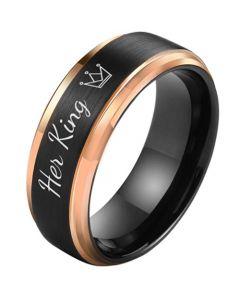 *COI Tungsten Carbide Black Rose Her King Crown Step Edges Ring-5851