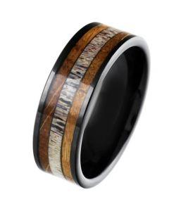 COI Black Tungsten Carbide Deer Antler & Wood Pipe Cut Flat Ring-5863