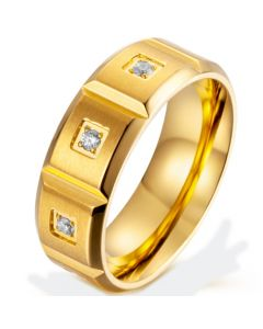 *COI Titanium Gold Tone/Silver Beveled Edges Ring With Cubic Zirconia-5870
