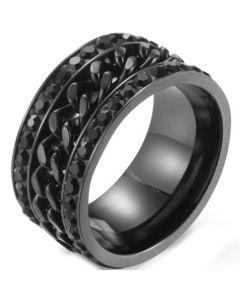 *COI Titanium Gold Tone/Black/Rainbow Pride Keychain Link Ring With Cubic Zirconia-5892