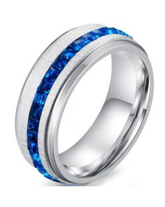 *COI Titanium Step Edges Ring With Created Blue Sapphire-5911