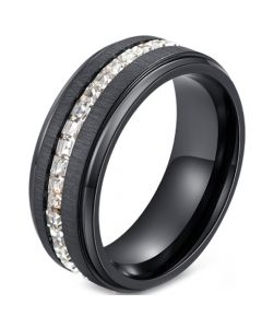 *COI Black Titanium Step Edges Ring With Cubic Zirconia-5912