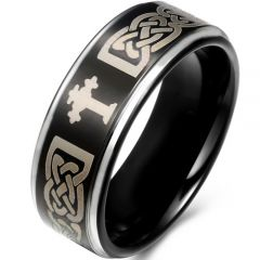 COI Tungsten Carbide Black Silver Cross Celtic Ring-TG746