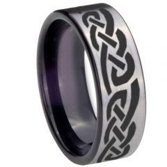 COI Titanium Black Silver Celtic Pipe Cut Flat Ring-768