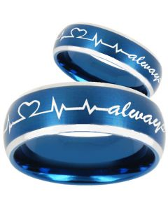 COI Tungsten Carbide Blue Silver Heartbeat & Heart Ring-TG810BB
