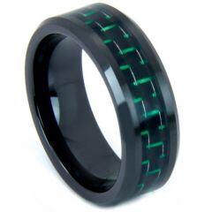 COI Black Tungsten Carbide Carbon Fiber Beveled Edge Ring-TG3692