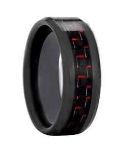 COI Black Tungsten Carbide Carbon Fiber Beveled Edge Ring-TG3693