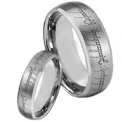 COI Tungsten Carbide Lord of The Ring Beveled Edges Ring-TG853