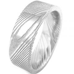 COI Tungsten Carbide Damascus Pipe Cut Flat Ring-TG920