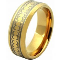 COI Gold Tone Tungsten Carbide Celtic Beveled Edges Ring-TG2830A