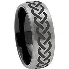 COI Tungsten Carbide Black Silver Celtic Dome Court Ring-TG972