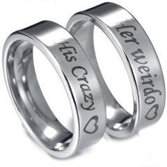 COI Tungsten Carbide His Crazy Her Weirdo Flat Ring-TG3071AA