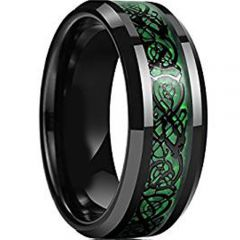 COI Black Titanium Dragon Ring With Green Carbon Fiber-JT1089AA