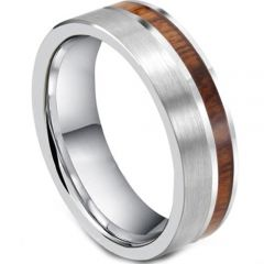 COI Tungsten Carbide Offset Wood Pipe Cut Flat Ring-TG2389