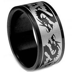 COI Black Titanium Dragon Pipe Cut Flat Ring-JT2534A