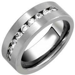 COI Titanium Pipe Cut Flat Ring With Cubic Zirconia-JT2780