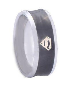 COI Tungsten Carbide Black Silver Superman Concave Ring-TG4151