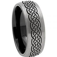 COI Titanium Black Silver Celtic Dome Court Ring-3539