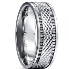COI Titanium Double Grooves Faceted Ring-JT5076