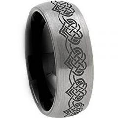 COI Titanium Black Silver Hearts Dome Court Ring-JT5011