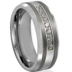 COI Titanium Beveled Edges Ring With Cubic Zirconia-JT5023