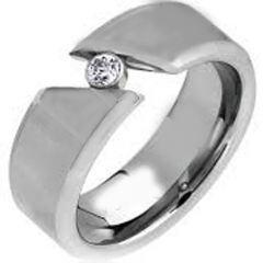 COI Titanium Solitaire Ring With Cubic Zirconia-JT5025