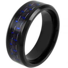 COI Black Titanium Beveled Edges Ring With Carbon Fiber-JT5035