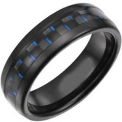 COI Black Titanium Beveled Edges Ring With Carbon Fiber-JT5036