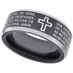 COI Titanium Black Silver Cross Scripture Ring-JT5054
