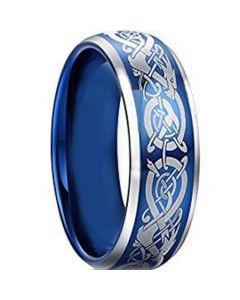 COI Titanium Blue Silver Dragon Beveled Edges Ring-3877