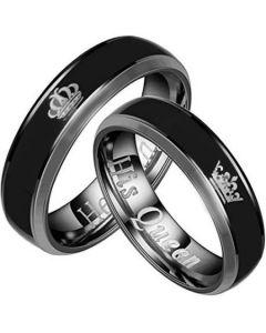 COI Tungsten Carbide Black Silver King Queen Crown Ring-TG2094
